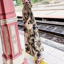 Load image into Gallery viewer, Classy v neck Batwing Sleeve summer Tunics Photography yellow print Maxi Dress