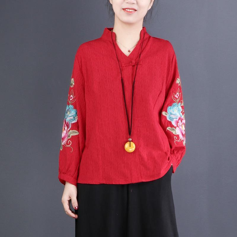 Classy v neck embroidery linen cotton shirts women top quality Photography red Midi blouse