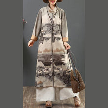 Load image into Gallery viewer, Classy warm cotton high neck outfit Tutorials gray prints Vestidos De Lino Dresses