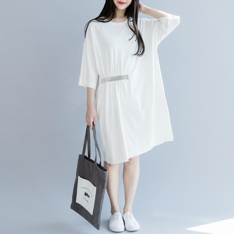 Classy white Cotton clothes o neck half sleeve Plus Size summer Dresses