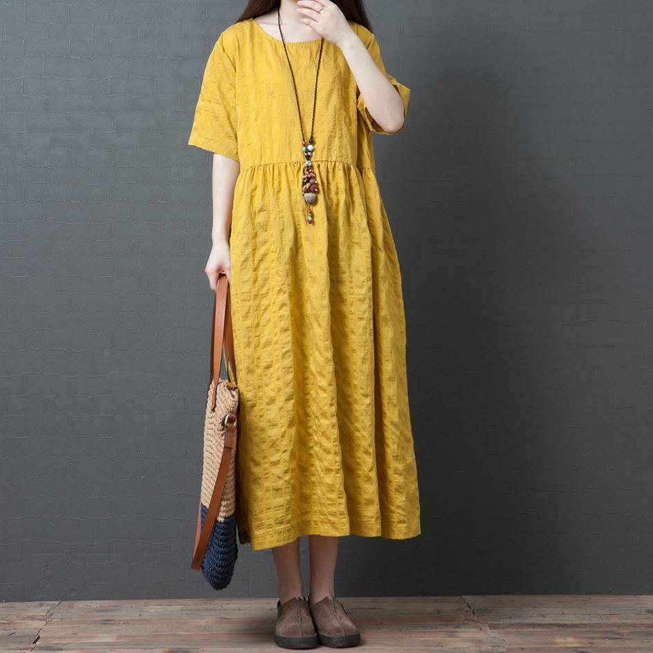 Classy yellow linen clothes For Women o neck wrinkled linen robes summer Dresses