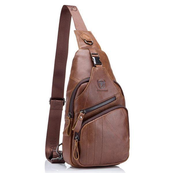 Coffee Genuine Leather Large Size Chest Bag Sling Bag Single-shoulder Crossbody Bag For Men