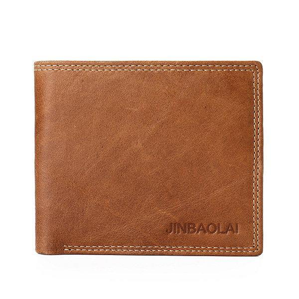 Coffee Genuine Leather Wallet Vintage Casual 6 Card Slots Card Pack For Men