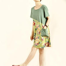 Load image into Gallery viewer, Color block print cotton sundress linen shift dress