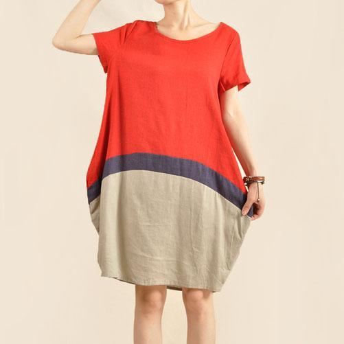 Color patchwork cotton oversize sundress linen shift dress