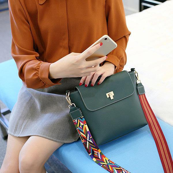 Colorful Strap Women Bucket Bags Casual Lock Anti-Thief Shoulder  Green Bags Crossbody Bags