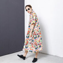 Load image into Gallery viewer, Colorful Graffiti Lacing Split Hem Loose Dress