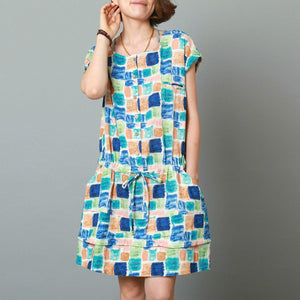 Colorful life linen dress plus size summer cotton dress in blue-Will be available soon