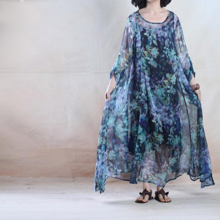 Colorful world blue chiffon maxi dress floral sundress holiday dresses
