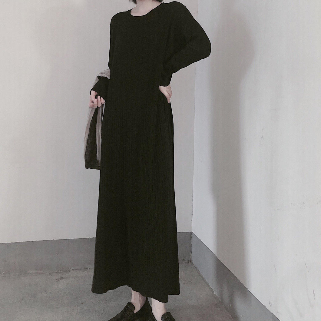 Comfy O Neck Long Sleeve Sweater Dress Street Style Black Mujer Knit Dress