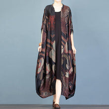 Load image into Gallery viewer, Comfy black print cardigan jackets spring fashion stand collar Batwing Sleeve cardigan