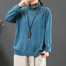 Load image into Gallery viewer, Comfy blue khit top silhouette high neck plus size hollow out knit tops