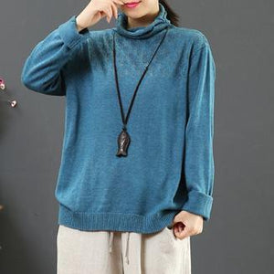 Comfy blue khit top silhouette high neck plus size hollow out knit tops
