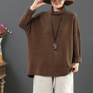 Comfy brown crane tops fall fashion high neck knit tops