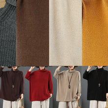 Load image into Gallery viewer, Comfy brown crane tops fall fashion high neck knit tops