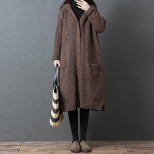 Load image into Gallery viewer, Comfy chocolate oversized hooded Button knit outwear