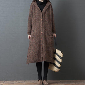 Comfy chocolate oversized hooded Button knit outwear