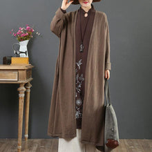 Load image into Gallery viewer, Comfy chocolate sweater coat plus size clothing v neck loose knitwear