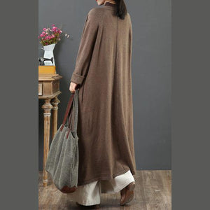 Comfy chocolate sweater coat plus size clothing v neck loose knitwear