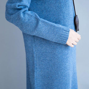 Comfy dark blue Sweater weather plus size Fuzzy high neck knit dresses