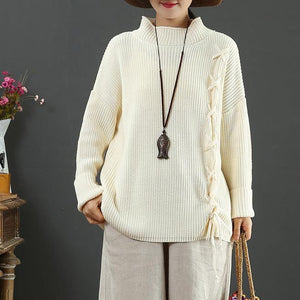 Comfy khaki sweater tops drawstring fall fashion winter knit tops