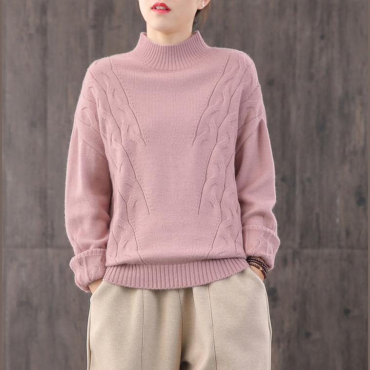 Comfy pink knit blouse fall fashion knitwear high neck
