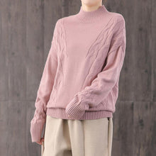 Load image into Gallery viewer, Comfy pink knit blouse fall fashion knitwear high neck