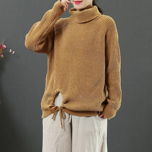 Comfy yellow Sweater Blouse winter Loose fitting high neck knitwear
