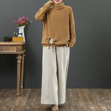 Load image into Gallery viewer, Comfy yellow Sweater Blouse winter Loose fitting high neck knitwear