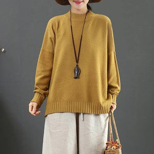 Comfy yellow sweater tops winter casual half high neck knit sweat tops