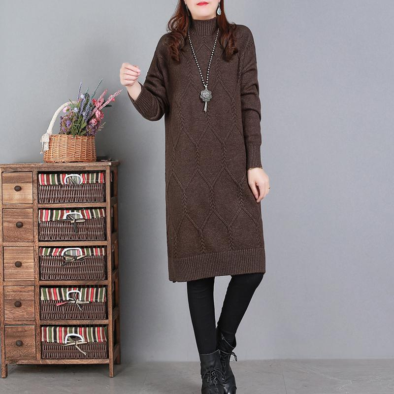 Comfy High Neck Sweater Weather Largo Chocolate Art Knit Dresses