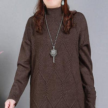 Load image into Gallery viewer, Comfy High Neck Sweater Weather Largo Chocolate Art Knit Dresses