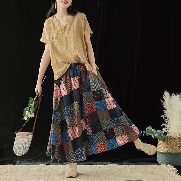 Cotton color skirt female summer new color matching loose elastic waist dress
