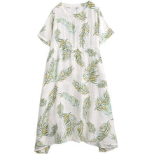 Load image into Gallery viewer, Cotton Linen Print Round Neck Dress