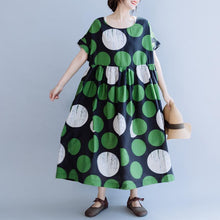 Laden Sie das Bild in den Galerie-Viewer, Cotton Print Dot Round Neck A-Line Dress