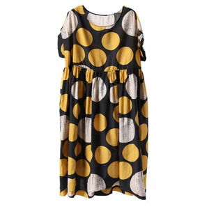 Cotton Print Dot Round Neck A-Line Dress