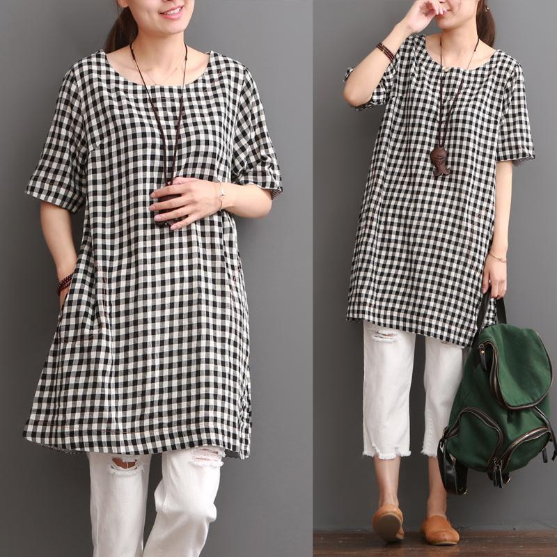 Cotton plaid sundress plus size summer shift dresses