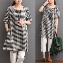 Load image into Gallery viewer, Cotton plaid sundress plus size summer shift dresses