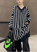 Load image into Gallery viewer, Cozy Black Striped Sweaters Plus Size V Neck Pockets Knit Blouse