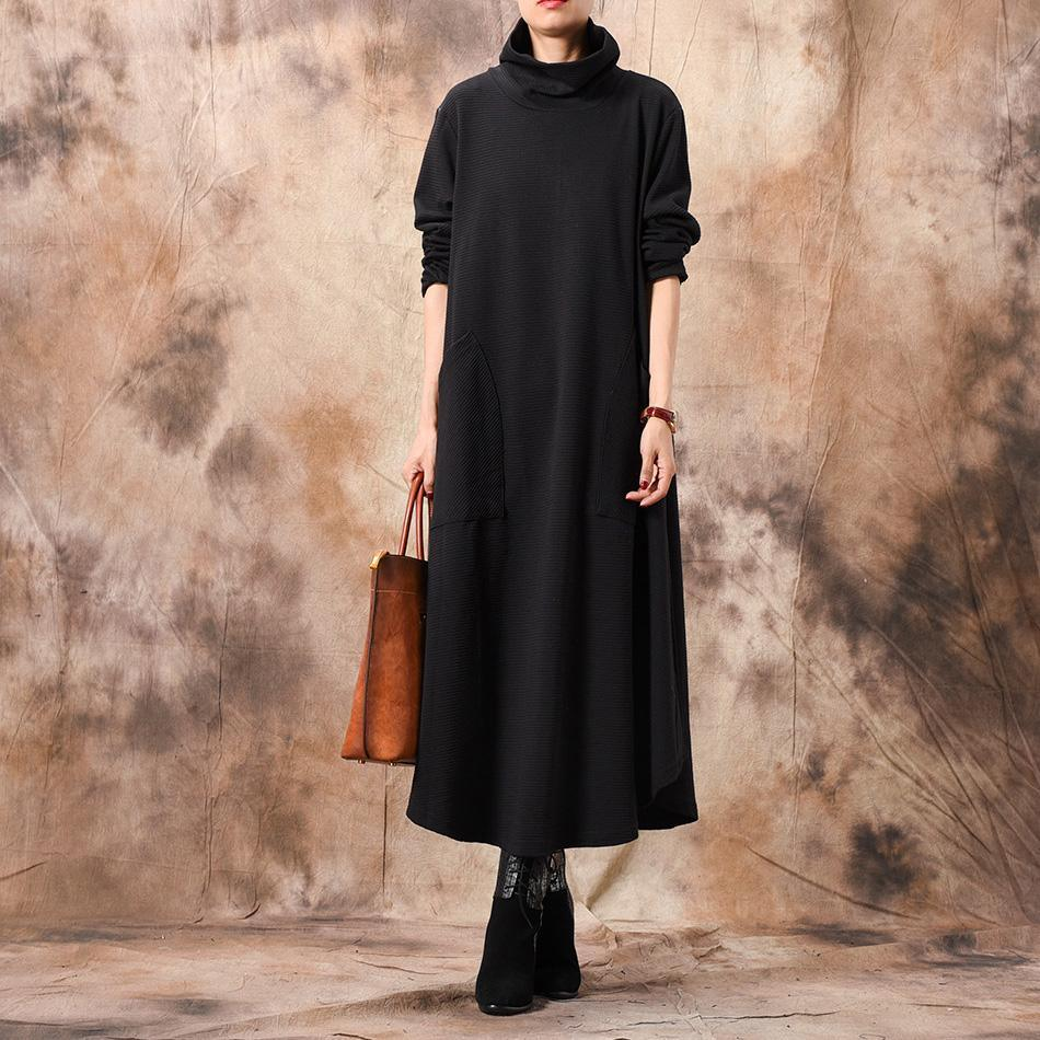 Cozy Sweater dress Women high neck pockets black daily knit dress