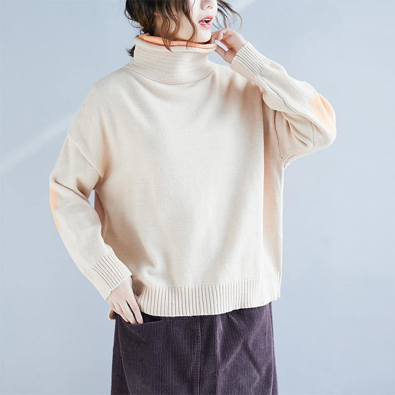 Cozy beige high neck crane tops trendy plus size autumn knitted blouse long sleeve
