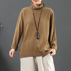 Cozy dark khaki clothes For Women high neck plus size hollow out knit tops