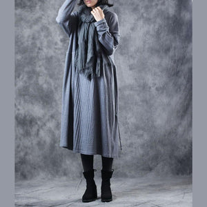 Cozy gray sweater dresses plus size o neck fall dresses boutique tie waist pullover