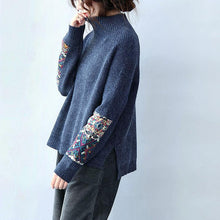 Load image into Gallery viewer, Cozy navy crane tops plus size o neck knitwear side open
