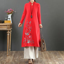Load image into Gallery viewer, Cozy stand collar Sweater embroidery dress outfit Upcycle red Tejidos knit dress