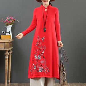 Cozy stand collar Sweater embroidery dress outfit Upcycle red Tejidos knit dress