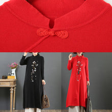Load image into Gallery viewer, Cozy stand collar Sweater embroidery knit top pattern DIY red oversized knitted tops
