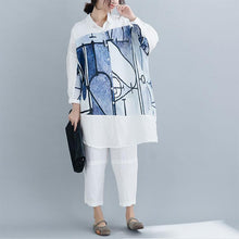 Load image into Gallery viewer, Cute Sweater outfits Classy Turn-down Collar patchwork white Art knitwear