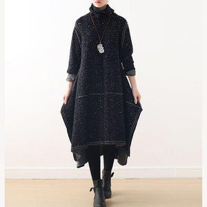 Cute Sweater weather Beautiful high neck side open black DIY knit dress