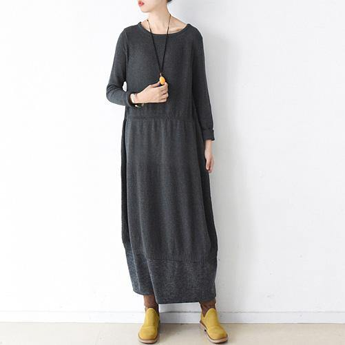 Cute Sweater weather plus size o neck baggy dresses dark gray daily knit dress